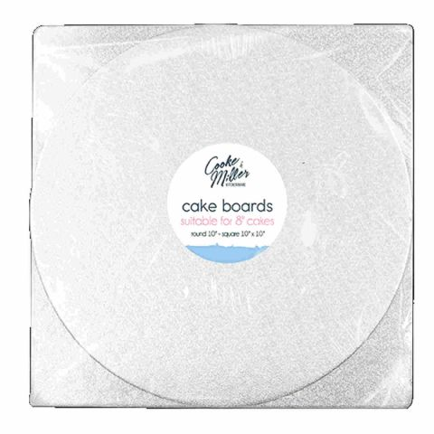 "Pack 2 Mixed 10"" 25cm Round & Square Foil Cake Boards"